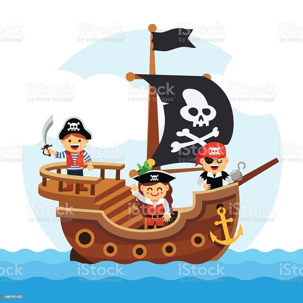 Barco pirata vela de historieta niños al mar ilustración de barco pirata  vela de historieta niños a370cc273f2