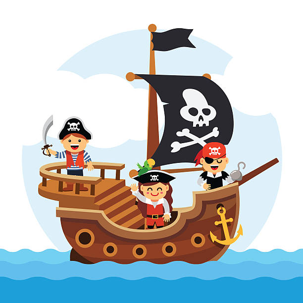 Cartoon kids pirate ship sailing sea Kids pirate ship sailing in the sea with black flag and sail decorated with scull and cross bones. Flat style vector cartoon illustration isolated on white background. pirate ship stock illustrations