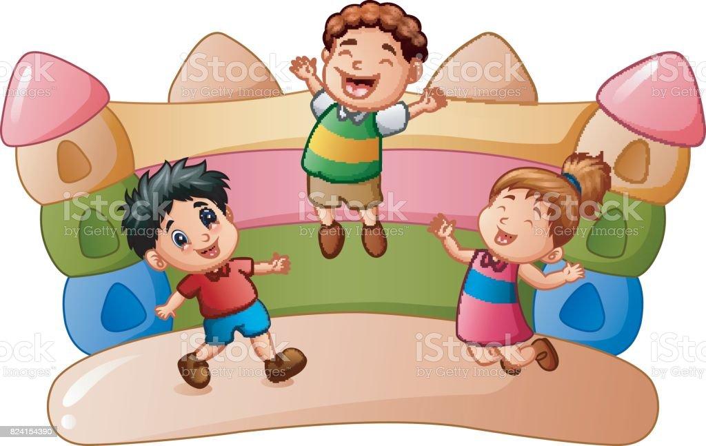 Ilustración De Niños De Dibujos Animados Jugando En La