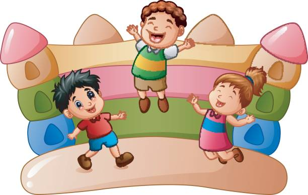 Cartoon kids playing at the bouncing house vector art illustration