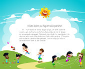 Cartoon kids playing outside. Vacation, active weekend concept. Vector