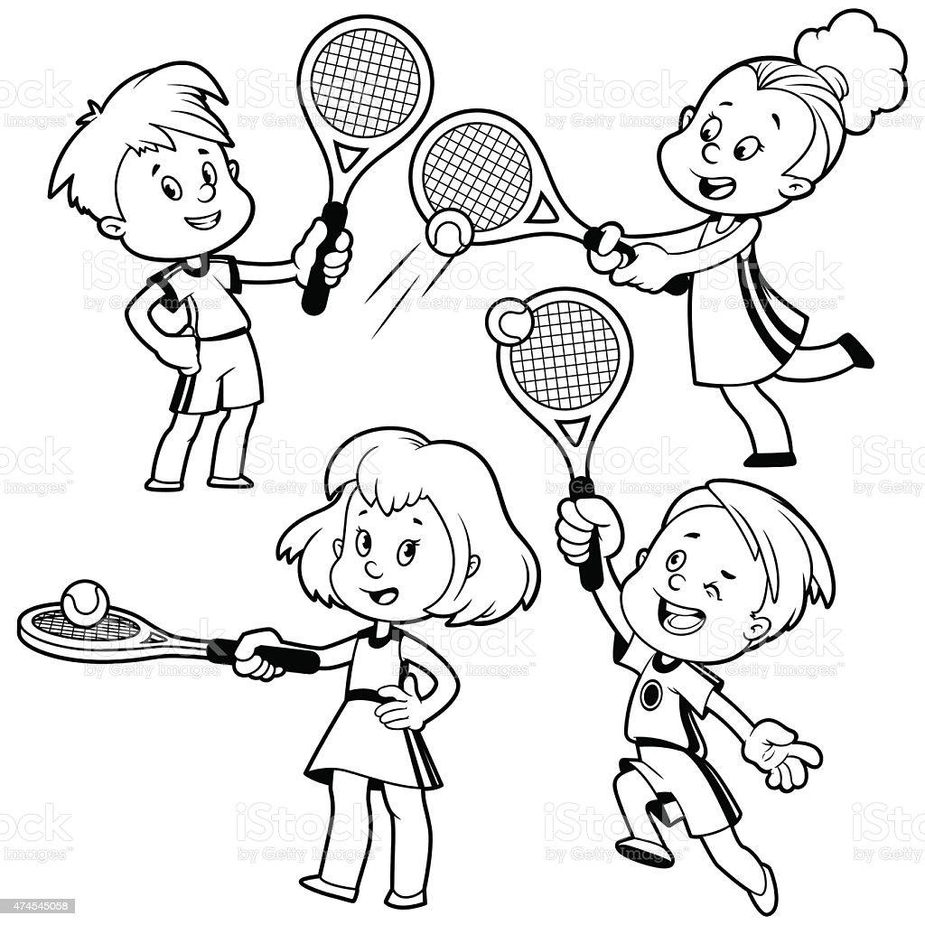 cartoon kids playing tennis outline stock vector art 474545058