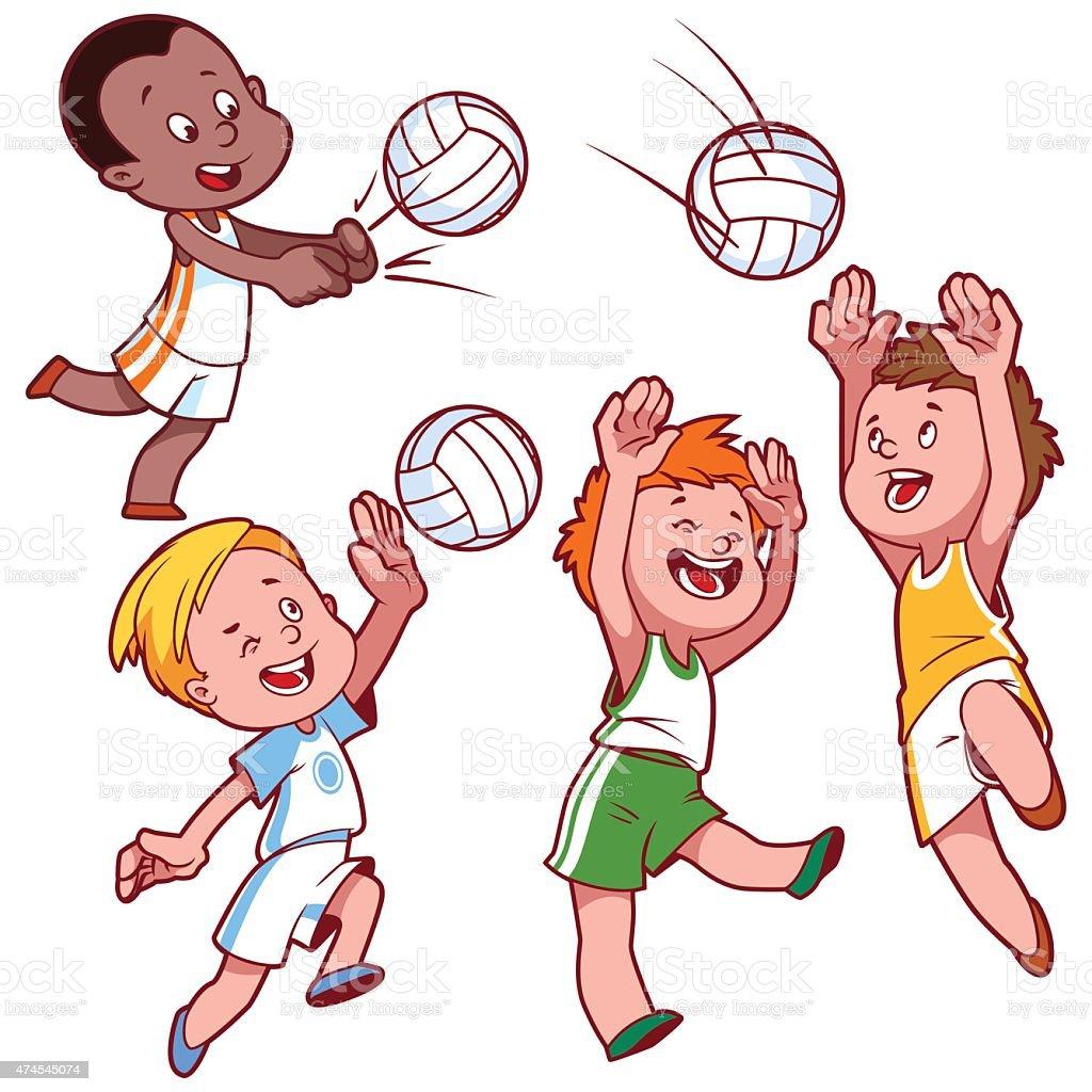 cartoon kids playing volleyball stock vector art 474545074 istock
