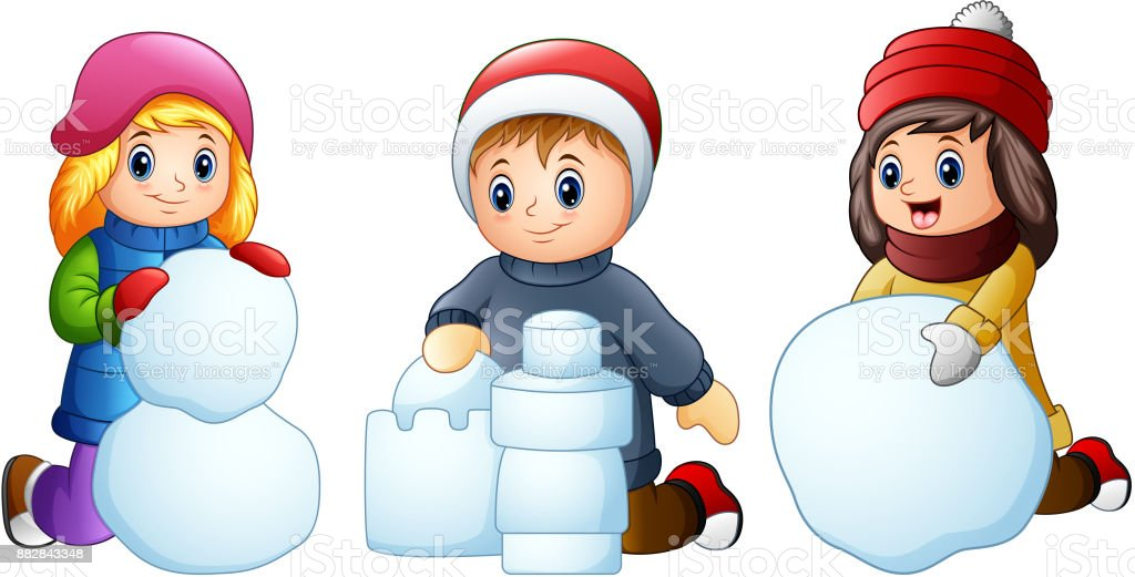 Cartoon kids playing with snow isolated on a white background vector art illustration