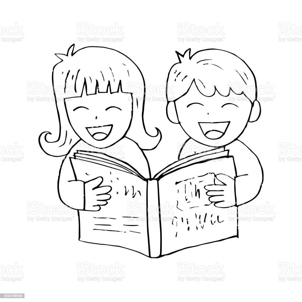Vetores De Criancas Lendo Livro Dos E Mais Imagens De Aberto Istock