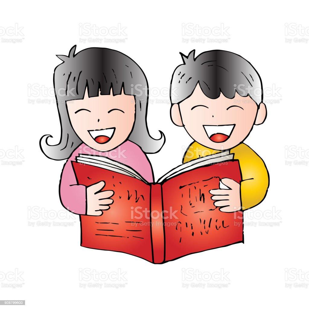 Dessin Anime Enfants Lisant Livre Vecteurs Libres De Droits Et Plus D Images Vectorielles De Apprentissage