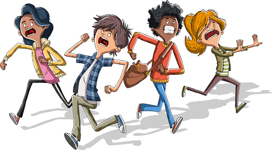 Cartoon kids running with fear. Scared teenagers.