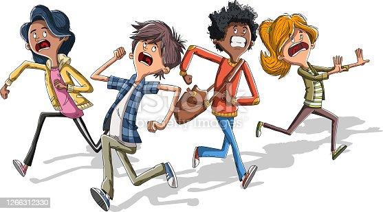 istock Cartoon kids running with fear. 1266312330