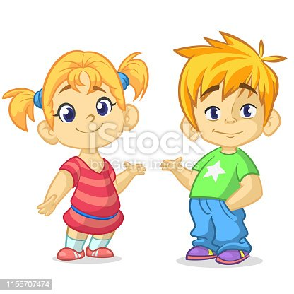 Cartoon kids set. Funny boy and girl couple illustration