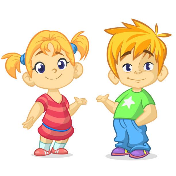 stockillustraties, clipart, cartoons en iconen met cartoon kids set. grappige jongen en meisje paar illustratie - tienerjongens
