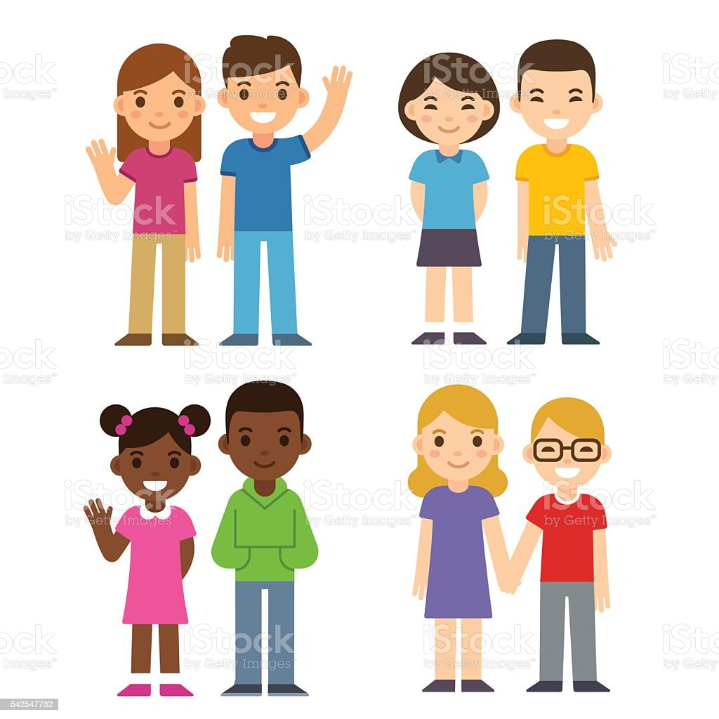 Cartoon kids set vector art illustration