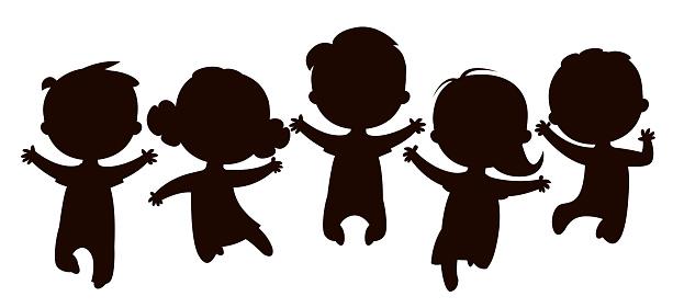 Cartoon kids silhouettes jumping