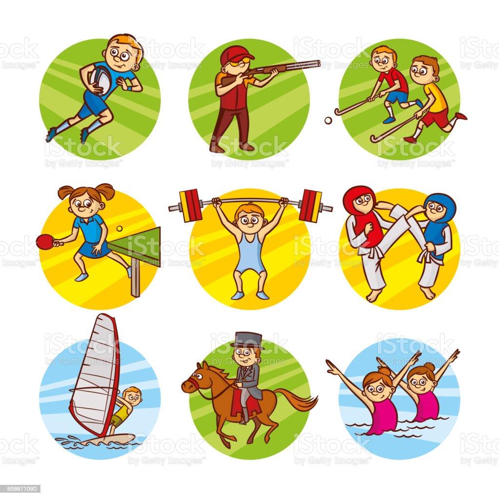 Cartoon Kinder Sport Set Vektor Clipart Stock Vektor Art Und Mehr Bilder Von Comic Kunstwerk Istock