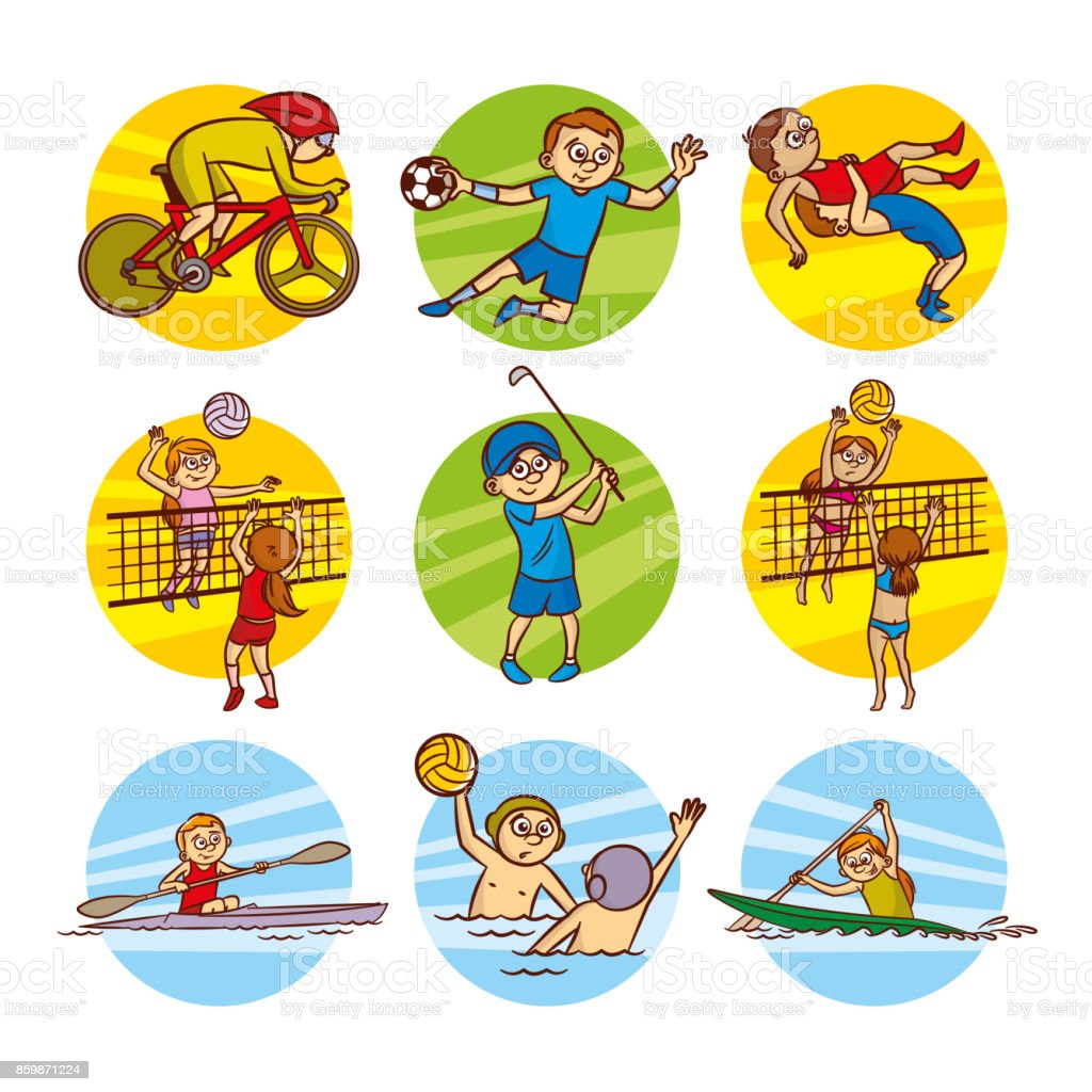 漫画の子供スポーツ設定ベクター クリップ アート - アイコンのベクター