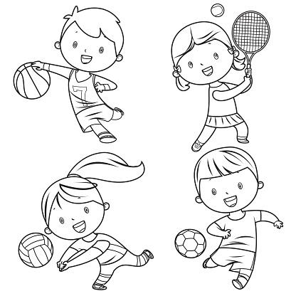 Cartoon kids sports characters drawing