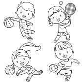 Vector cartoon kids sports characters drawing