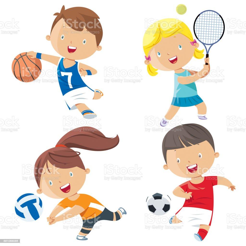 Cartoon kids sports characters vector art illustration