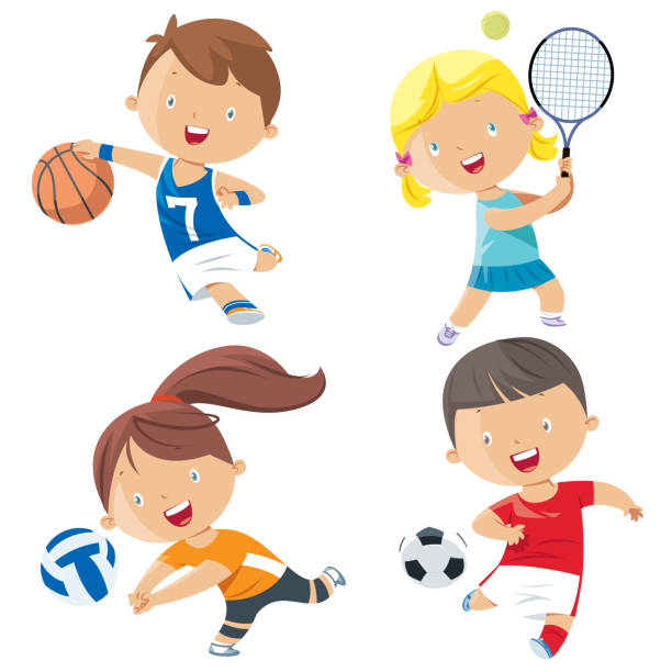 cartoon kids sports characters - cartoon kids stock illustrations, clip art, cartoons, & icons