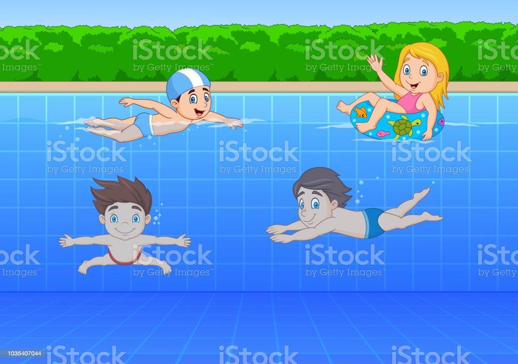 Ilustración De Niños De Dibujos Animados Nadando En La