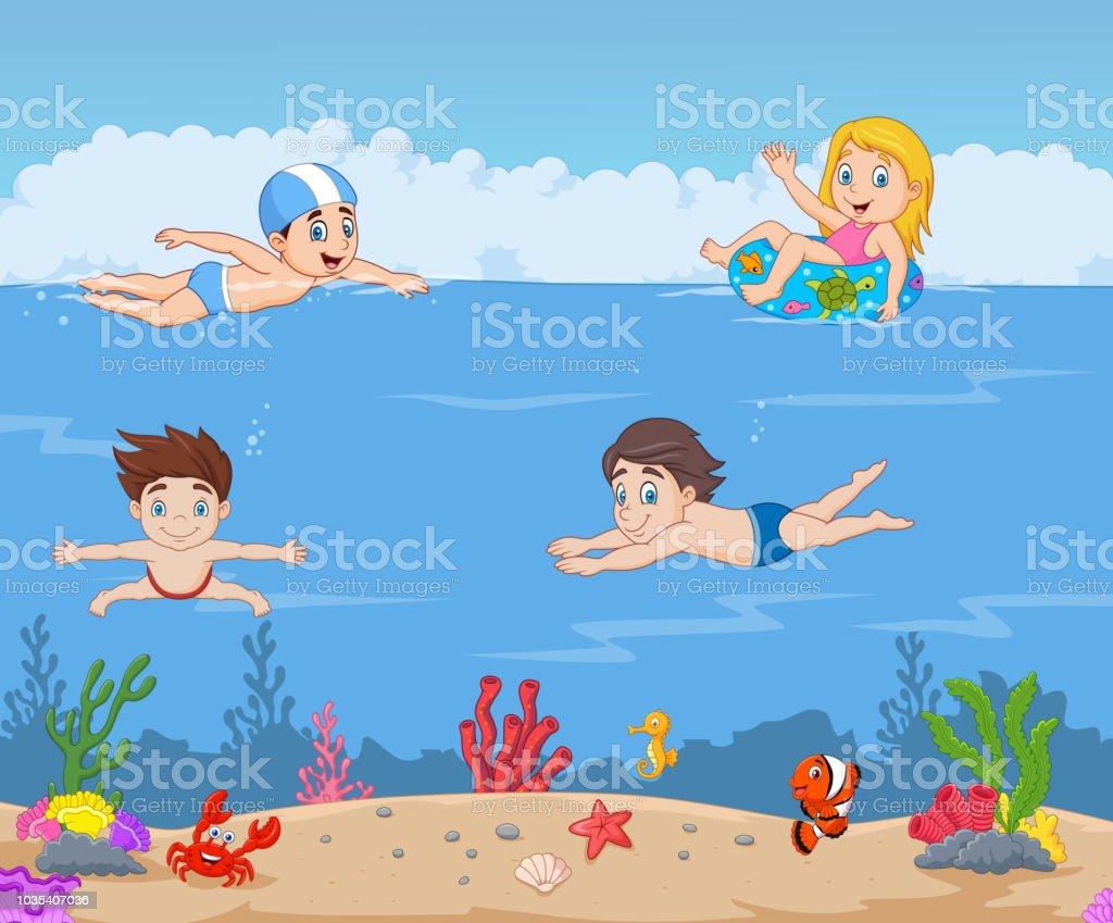 Ilustración De Niños De Dibujos Animados Nadando En El