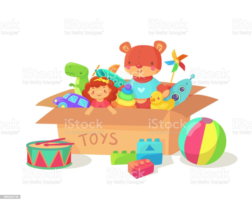 Cartoon kids toys in cardboard toy box. Children holiday gift boxes...