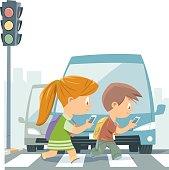 Vector Cartoon Kids Walking With Smart Phone