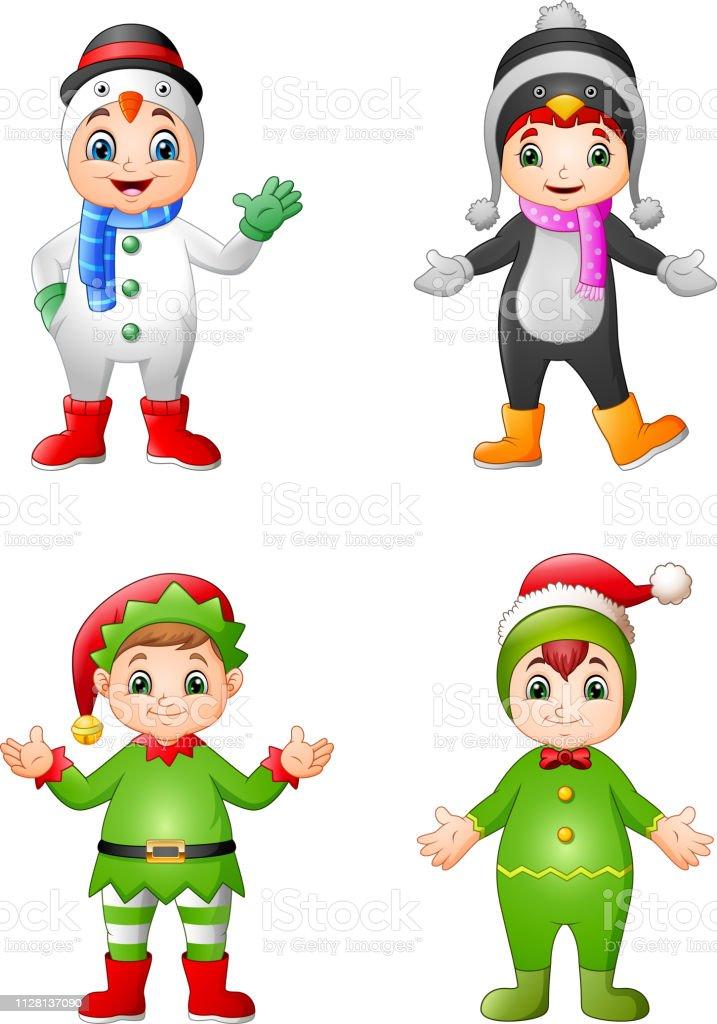Crianças desenhos animados usando fantasia de Natal - ilustração de arte em vetor