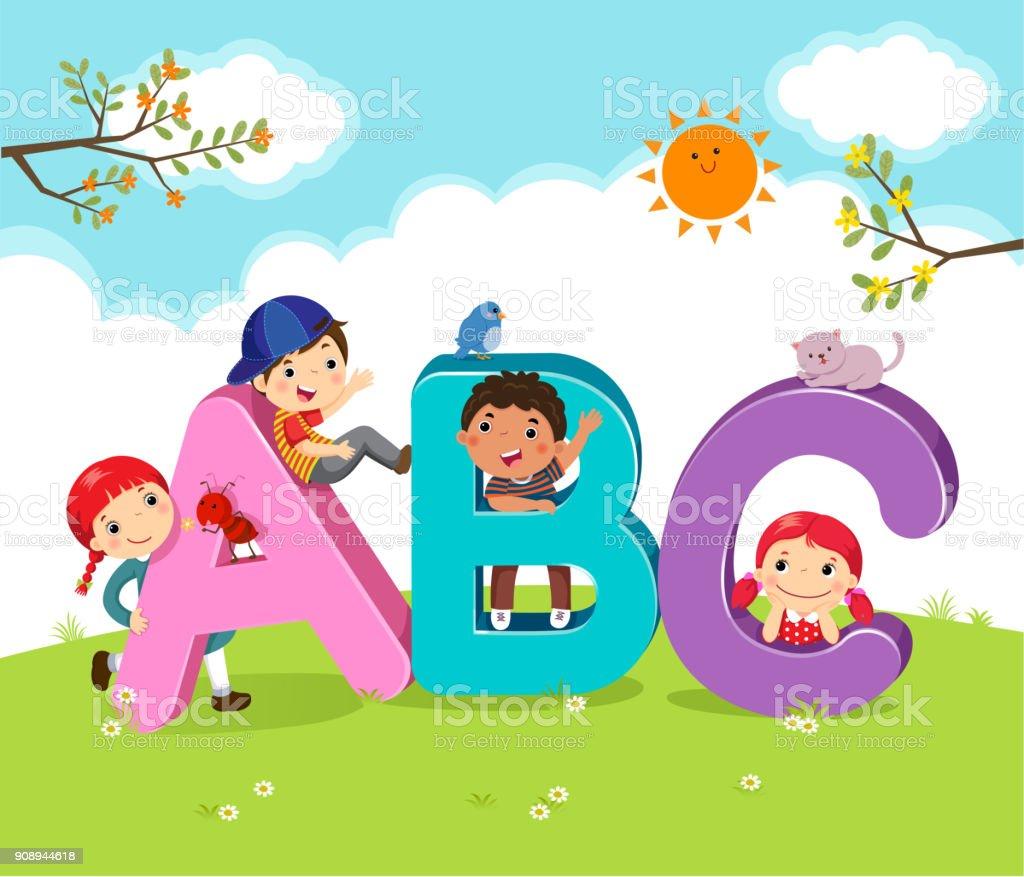 Cartoon Kinder mit ABC-Buchstaben – Vektorgrafik