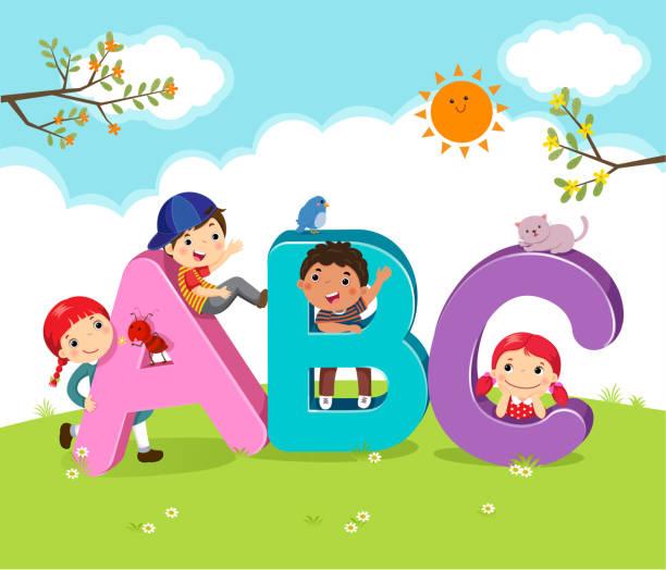 cartoon kinder mit abc-buchstaben - englischlernende stock-grafiken, -clipart, -cartoons und -symbole