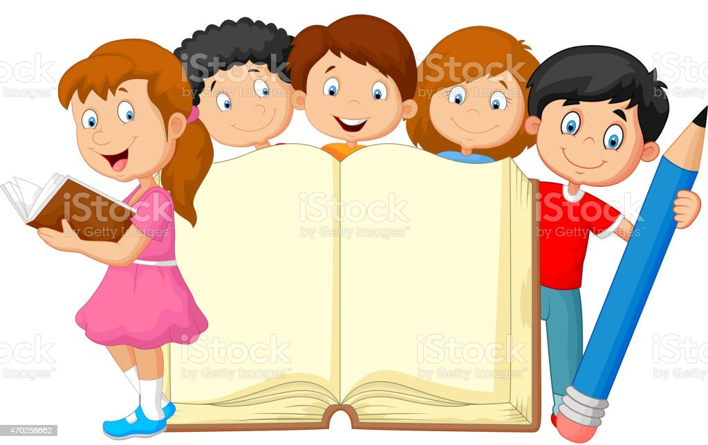 Cartoon kids with book and pencil vector art illustration