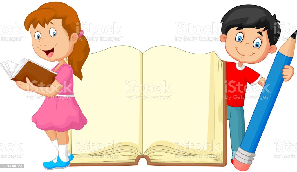 Vector illustration of Cartoon kids with book and pencil