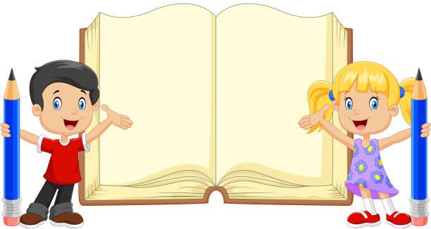 cartoon kids with book and pencils - buchstabenschreibweise stock-grafiken, -clipart, -cartoons und -symbole