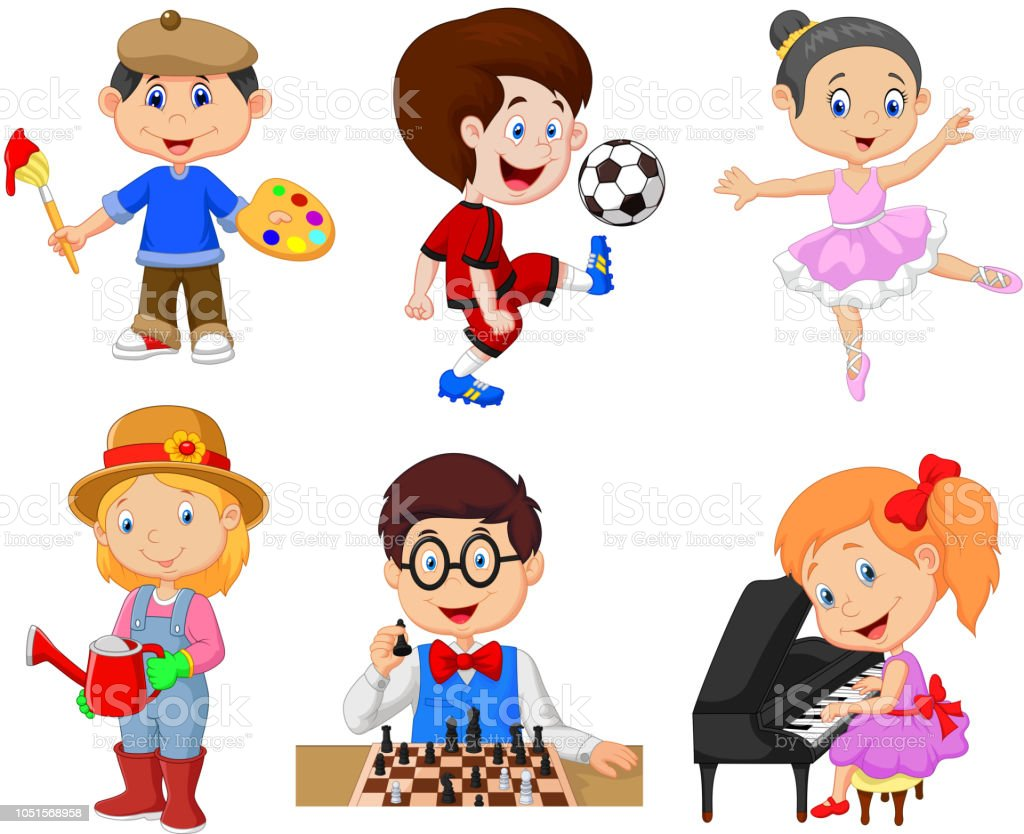 Cartoon kids with different hobbies on a white background vector art illustration