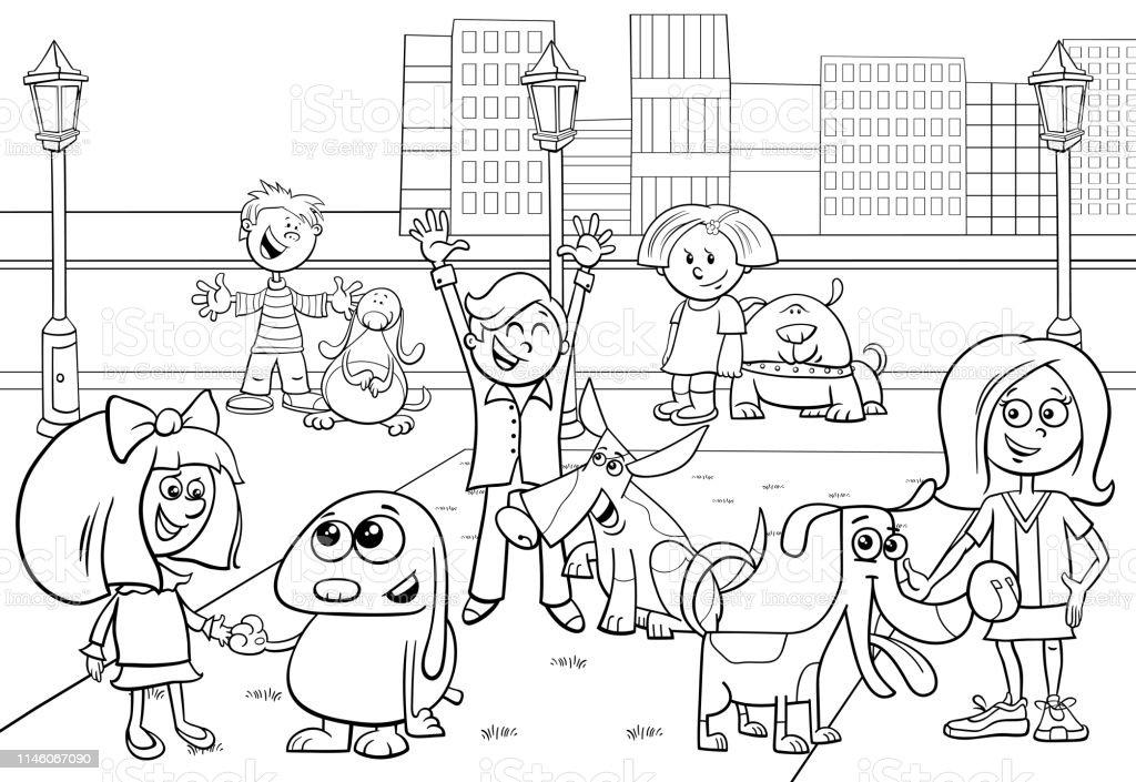 Ilustración De Dibujos Animados Niños Con La Página Para Colorear