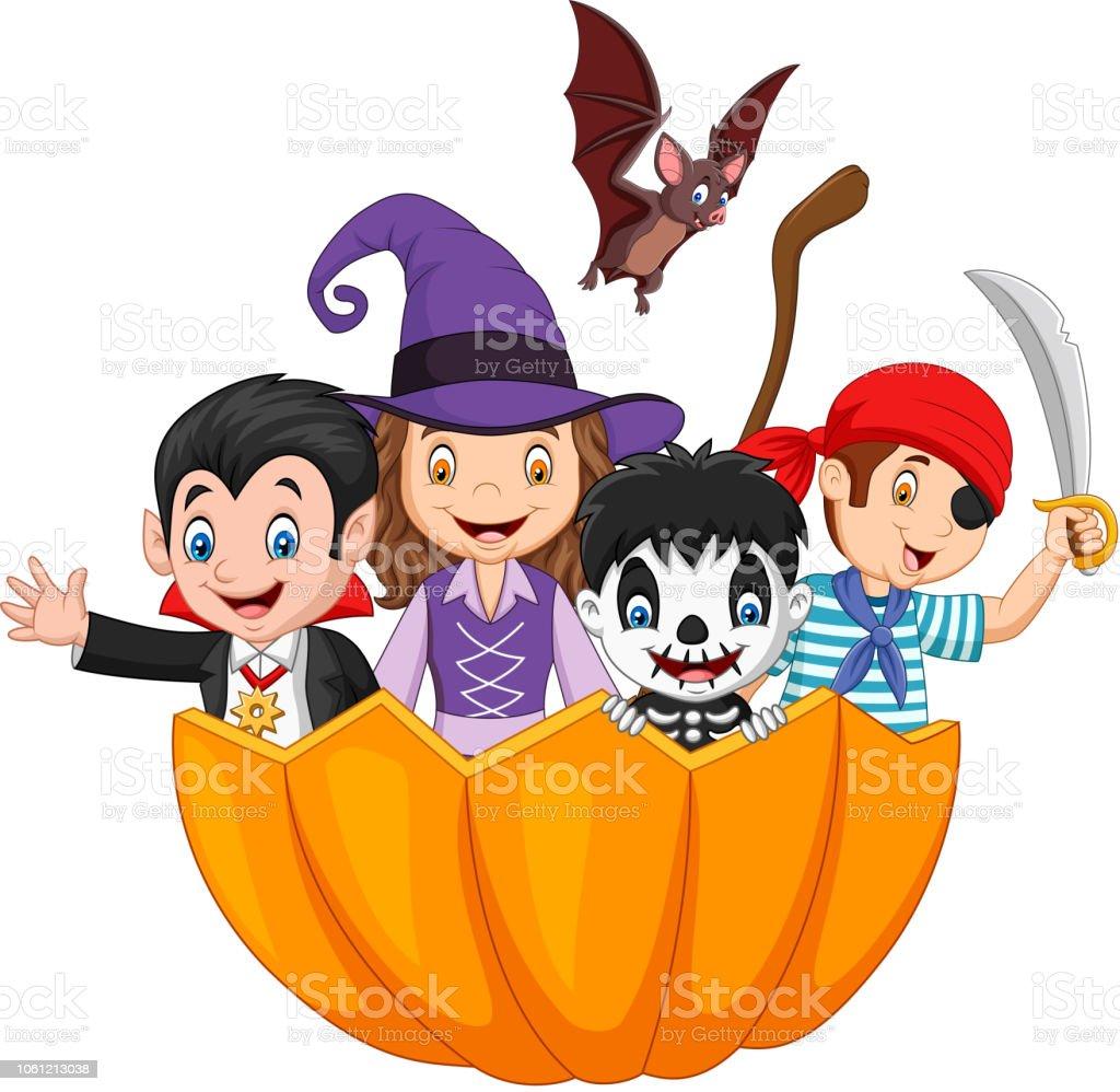 Kinderen Halloween.Cartoon Kinderen Met Halloween Kostuum Binnen Pompoen Mand