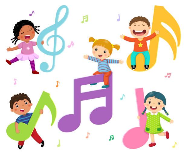stockillustraties, clipart, cartoons en iconen met cartoon kinderen met muziek notities - zingen