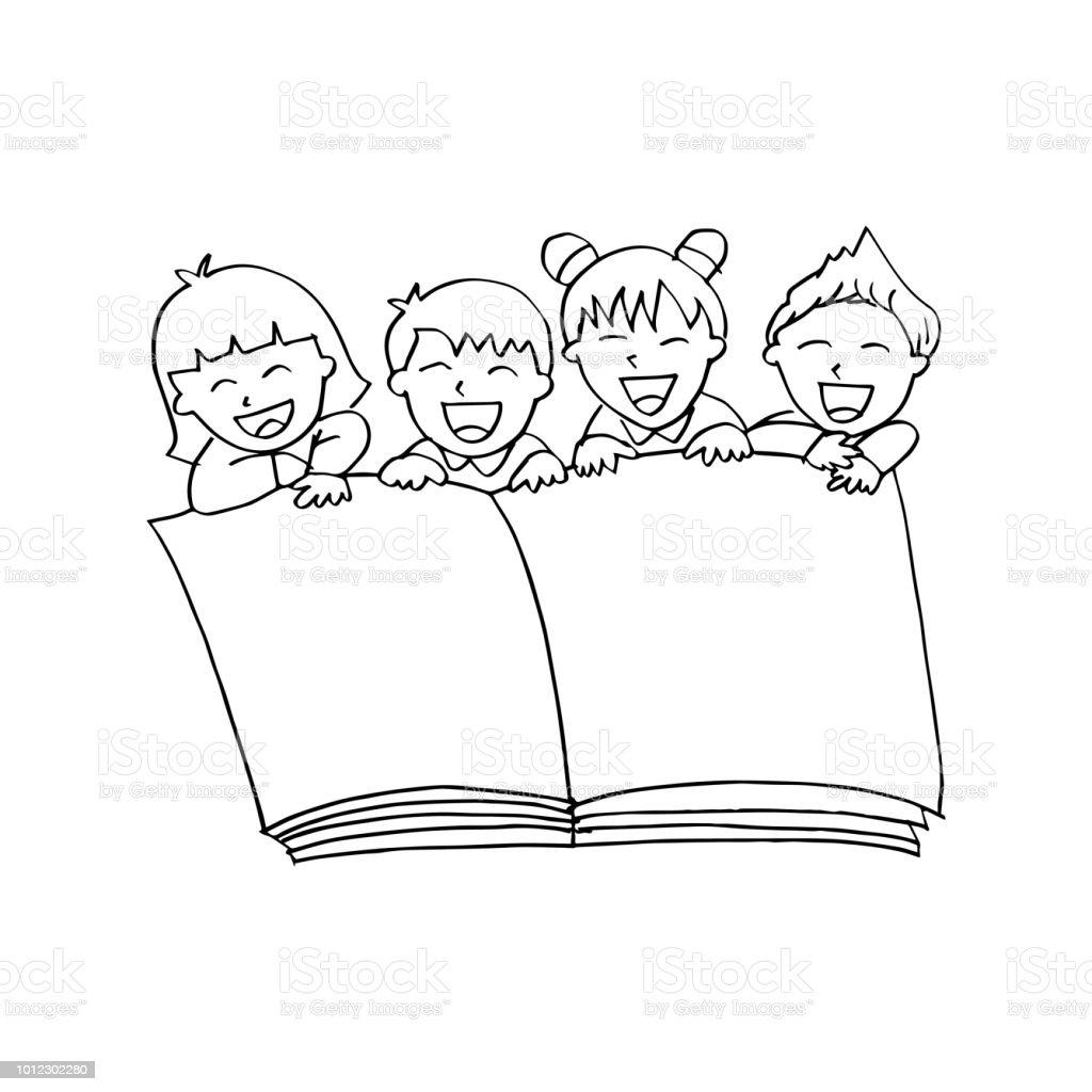 Enfants Dessin Anime Avec Livre Ouvert Vecteurs Libres De