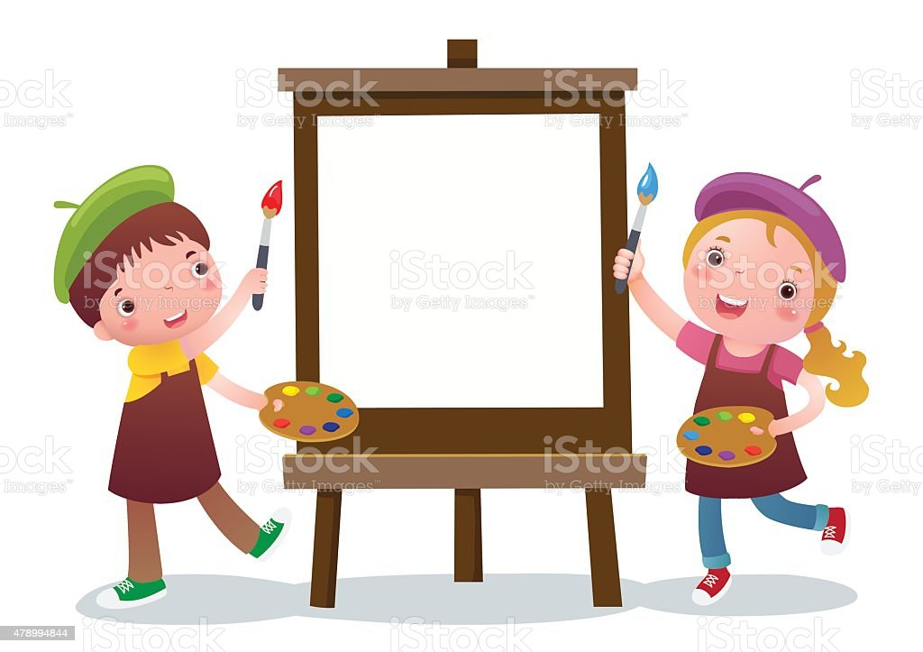 cartoon kids with painting canvas royalty free stock vector art - Cartoon Painting For Kids