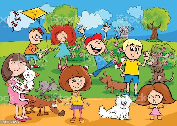 Cartoon kids with pets in the park vector id851169656?b=1&k=6&m=851169656&s=612x612&h=rwjs5vqs9hos5m34kd97sgqpp84phwhqxbcfyi0avdu=