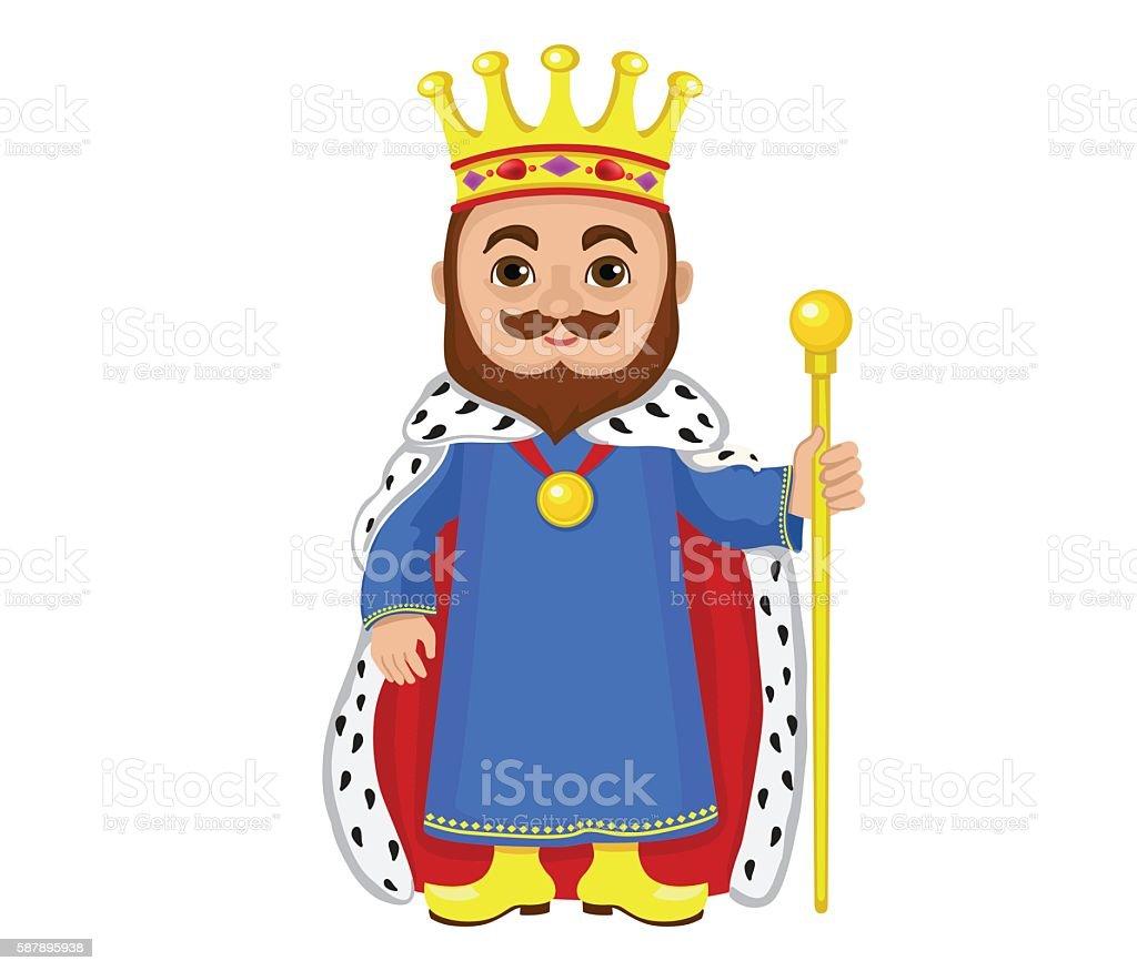 Cartoon king holding a golden scepter. vector art illustration