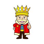 cartoon King wears a crown thumbs up mascot logo design