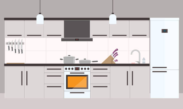 illustrazioni stock, clip art, cartoni animati e icone di tendenza di cartoon kitchen interior with fridge, oven and cooking appliances - cucina domestica