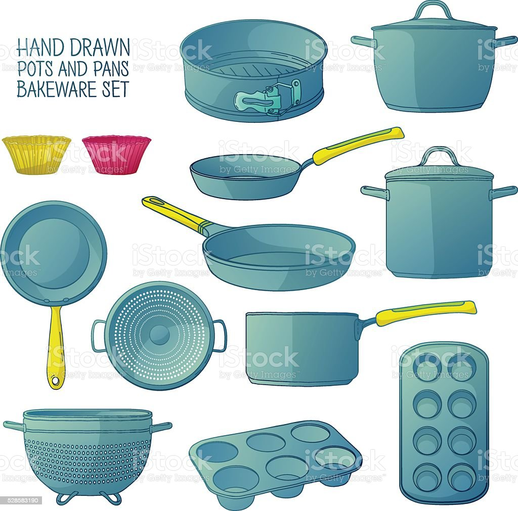 Cartoon Kitchen Utensils For Baking Frying Pan Saucepan A Colander ...