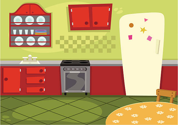 Cartoon Kitchen A stylized cartoon kitchen. domestic kitchen stock illustrations