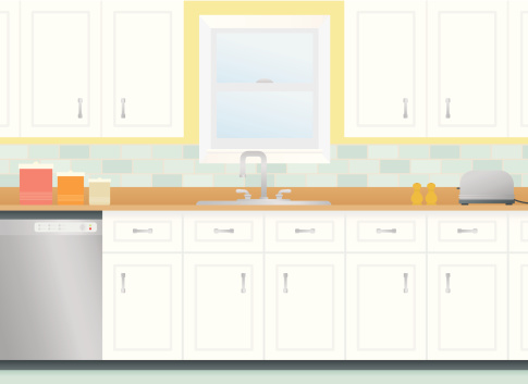 Cartoon kitchen with cabinets and window