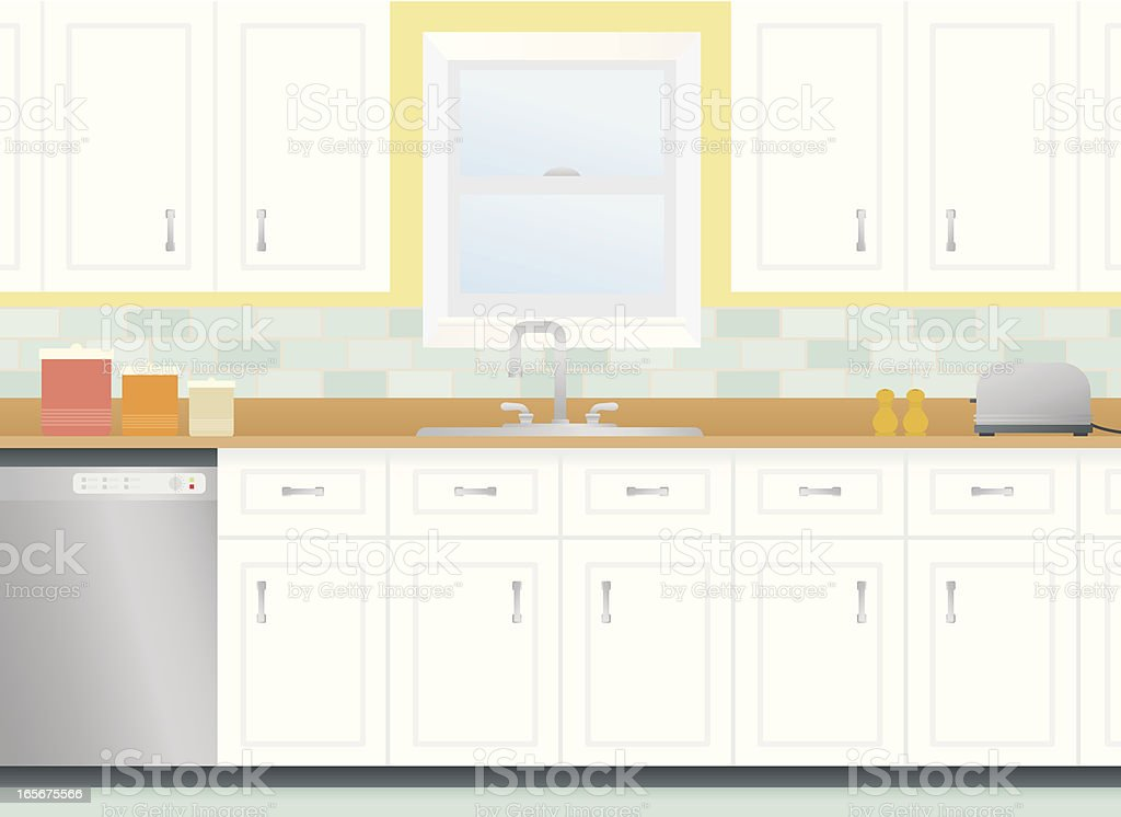 Cartoon kitchen with cabinets and window vector art illustration