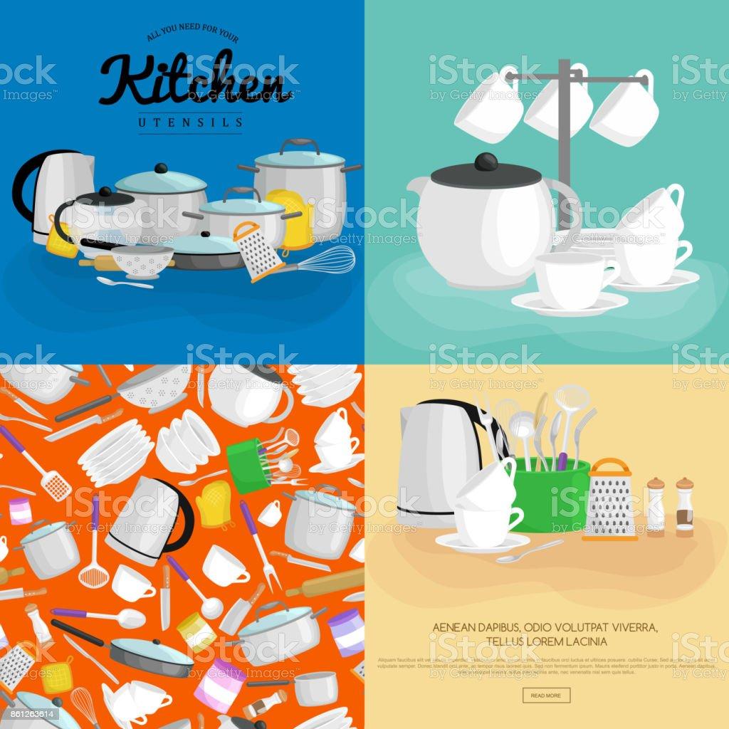 Cartoon Kitchenware Utensil Collectionsteel Kitchen Household ...