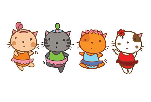 cartoon kitten ballerinas