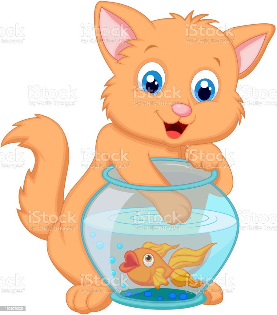 Ilustración de Mascota De Dibujos Animados De La Pesca De Oro Peces ...