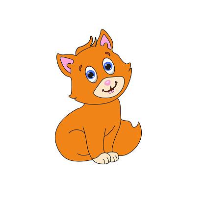Cartoon kitten.  Vector illustration